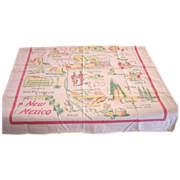 "Vintage NEW MEXICO State Tablecloth 34"" x 32"""