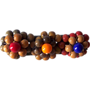 Vintage Wooden Beaded Brooch Floral Motif Mint!
