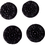 Vintage BAKELITE Buttons Set of 4 Carved Jet Black Bakelite 1 1/4 Inch Round