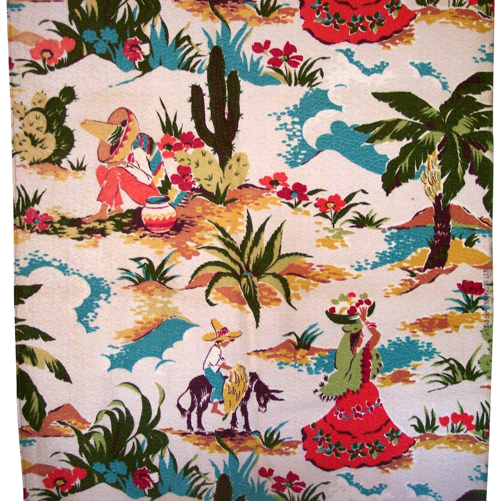Vintage Barkcloth Fabric Mexicana Theme Signed and Mint Large Panel