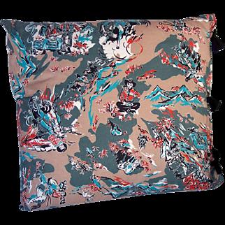 Vintage Cotton Textile Fabric Pillow Cowboy Western Motif