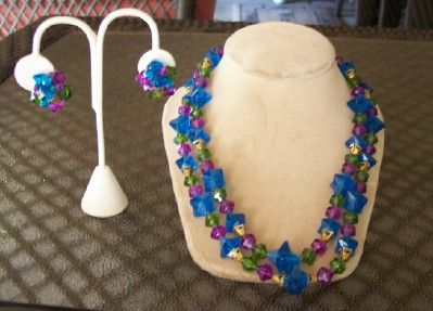 FABULOUS Vintage LUCITE Necklace and Earring Set Demi Parure Marked West Germany