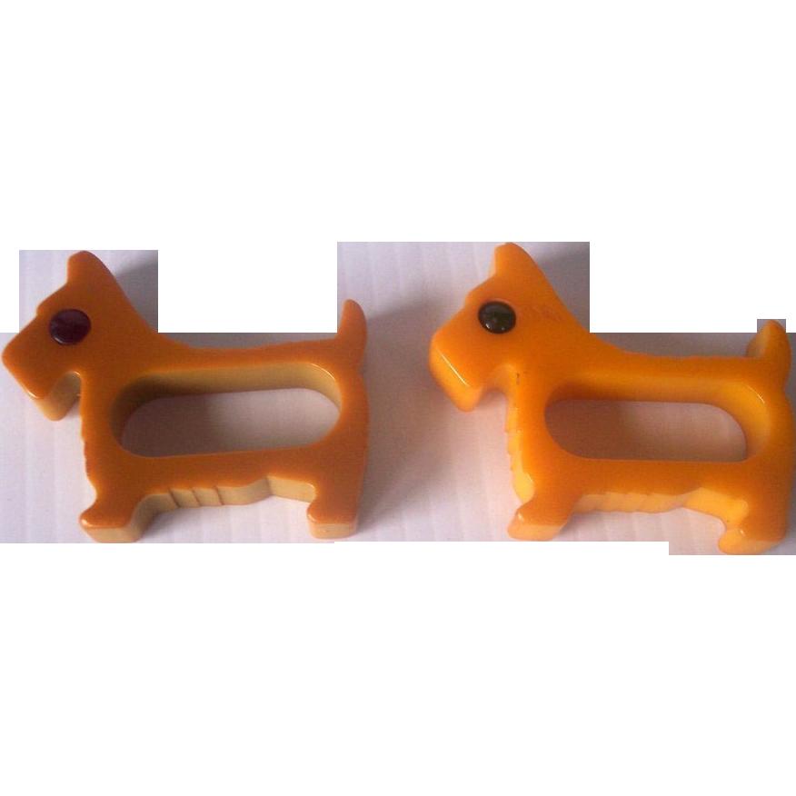 Vintage BAKELITE Scottie Dog Napkin Rings, Two Carved with Rodded Eyes Mint!