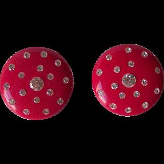 Vintage BAKELITE Earrings with Rhinestones Cherry Red Clip Back Mint!!