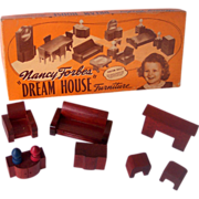 Vintage NANCY FORBES Wooden Dollhouse Furniture 9 Pieces Living Room Furniture Complete and Mint in Box!
