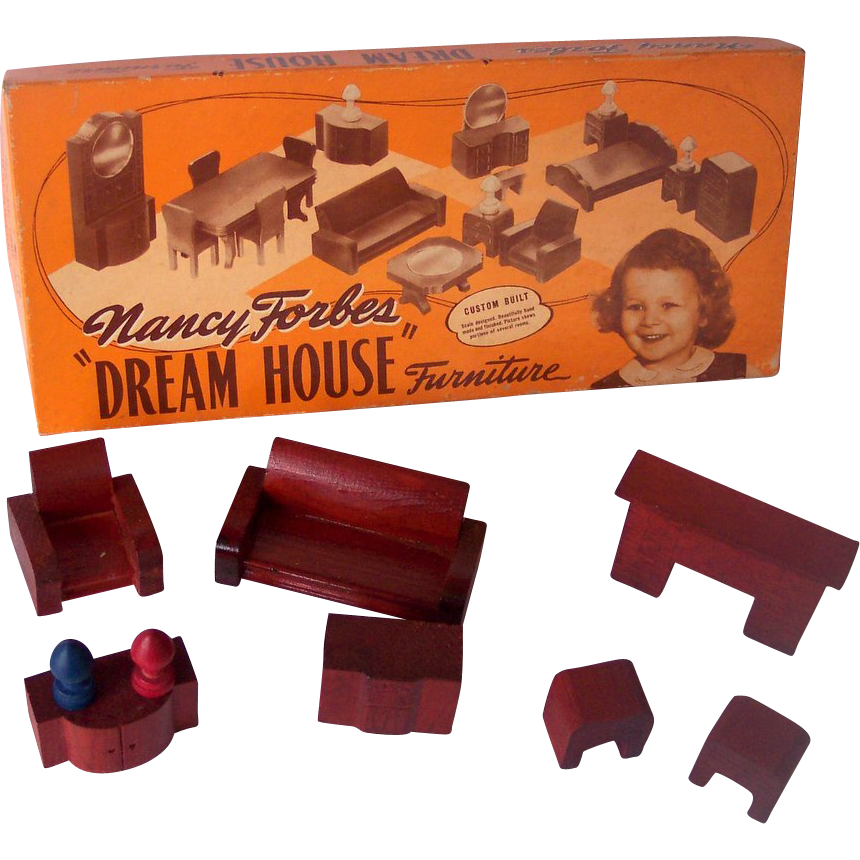 Vintage Nancy Forbes Wooden Dollhouse Furniture 9 Pieces