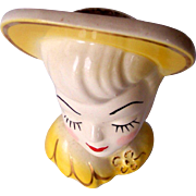 Vintage Lady Head Vase with Yellow Hat