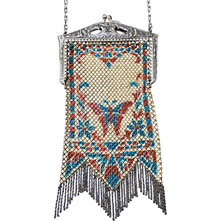 Vintage Mandalian Enamel Mesh Purse Butterfly Design