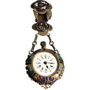 French Enamel Antique Watch Chatelaine