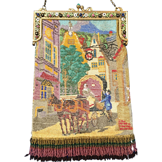 Pristine Over the Top Micro Beaded Figural Purse Horse and Carriage Jeweled and Enamel Frame