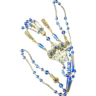 Vintage Czech Jeweled Flapper Glass and Brass  Necklace Sapphire Blue