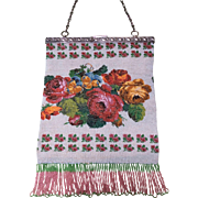 LAST CHANCE TO BE REMOVED 3-31 -Bountiful Micro Beaded Flowers Galore Floral Purse 830 S Frame
