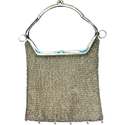 Antique French Enamel Mesh Purse Unusual Clasp