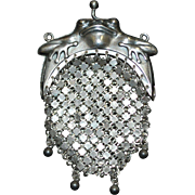 Antique Sterling Silver Mesh Frog Coin Purse