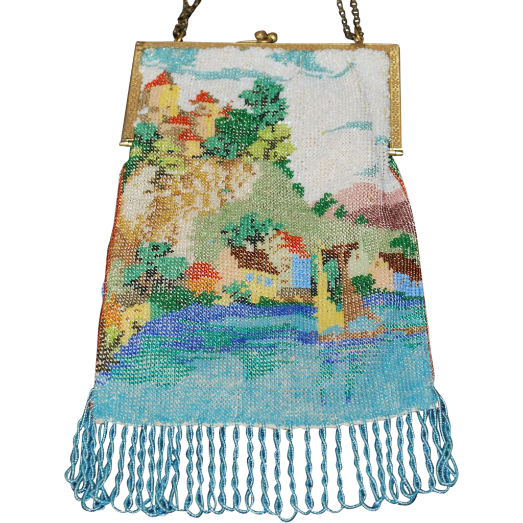 1920's Beaded Castle Purse Scenic Bag