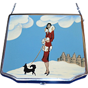 Art Deco Enamel Compact Purse Necessaire Vanity Bag Woman and Poodle Dog