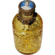 Vintage Austrian Jeweled Hand Painted Lady Scent Perfume Bottle