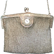 Vintage German Silver Mesh Purse with Built In Clock
