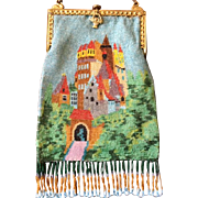Colorful Beaded Castle on the Hill Scenic Purse