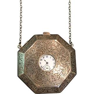 Antique William B Kerr Sterling Silver Compact Purse Pocket Watch