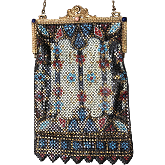 Marked Mandalian Stained Glass Pattern Jeweled Frame Purse