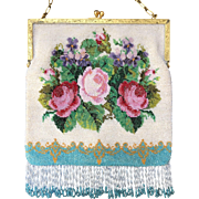 Lovely Vintage Floral Beaded Purse Early 20th Century Roses and Violets