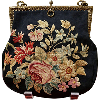 Vintage Two Pattern French Floral Aubusson Tapestry Purse