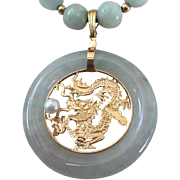 Vintage Asian 14 K Jade Dragon Pendant Natural Pearl Necklace