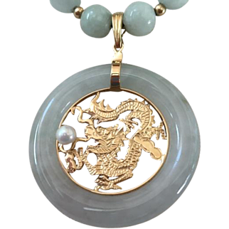 Vintage Asian 14 K Jade Dragon Pendant Natural Pearl Necklace