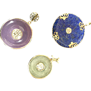 Vintage Set of 14K Yellow Gold Interchangeable Jade and Lapis Pendants