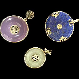 Vintage Set of 14K Yellow Gold Interchangeable Jade and Lapis Pendants