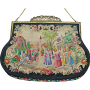 Beautiful Vintage  Austrian Micro Petit Point Purse Figural Two Pattern