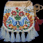 Antique Victorian Beaded Bag Colorful 19th Century Tassel Purse