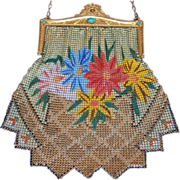 Marked Whiting and Davis Extra Large Flared Zigzag Skirt Design Enamel Mesh Purse Jeweled Frame