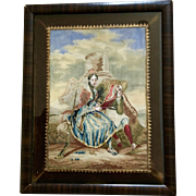 Micro Petit Point Framed Picture Courting Couple