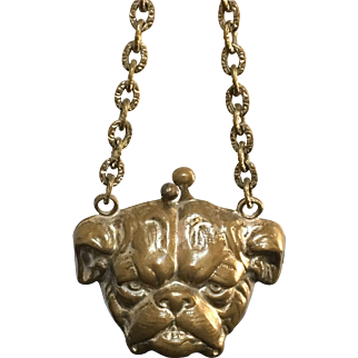 Antique Child's Bulldog Coin Purse