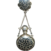 Antique Russian 84 Standard Silver Niello Scent Bottle Chatelaine
