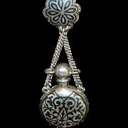 Antique Russian 84 Standard Silver Niello Scent Bottle Chatelaine