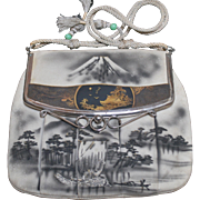 Antique Japanese Motif Mount Fuji Purse