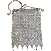 Antique Chinese Silver Florette Mesh Export Purse