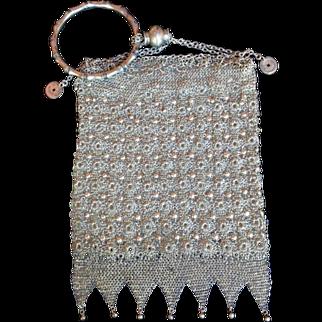 Antique Chinese Silver Florette Mesh Export Purse