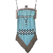 Whiting and Davis Geometric Enamel Mesh Purse