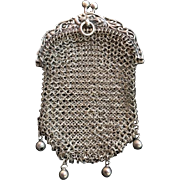 Antique Sterling Silver Ring Mesh Coin Purse with Serpent