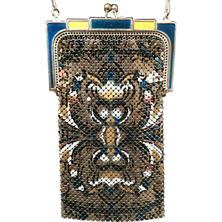 Marked Whiting and Davis Metallic Mesh Purse Great Enamel Colors