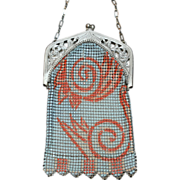 Whiting and Davis Wildly Deco Enamel Mesh Purse