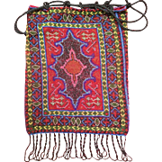 Vintage Jewel Tone Beaded Oriental Rug Pattern Purse