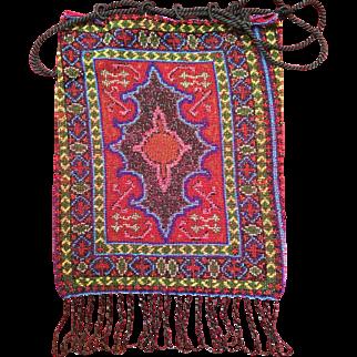 Vintage Jewel Tone Beaded Oriental Rug Pattern Purse