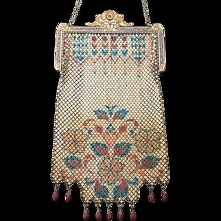 Vintage Mandalian Lustre Pearl Mesh Purse Enamel Frame Nine Drops