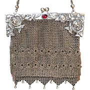 Art Nouveau Three Dimensional Lacey Mesh Purse with Dangles