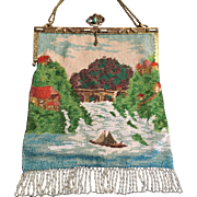 Vintage Jeweled Enamel Frame Beaded Lake Scenic Purse